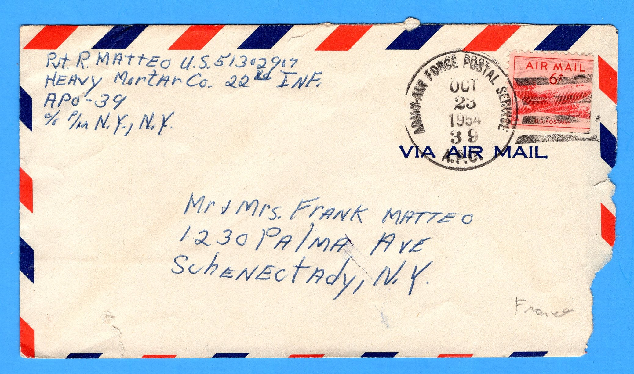 Army-Air Force Mail Heavy Mortar Company, 22nd Infantry APO 39 October 23, 1954