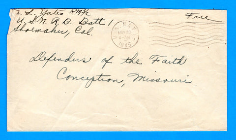 Sailor's Free Mail U.S.N.R.B. Batt 1 May 23, 1945