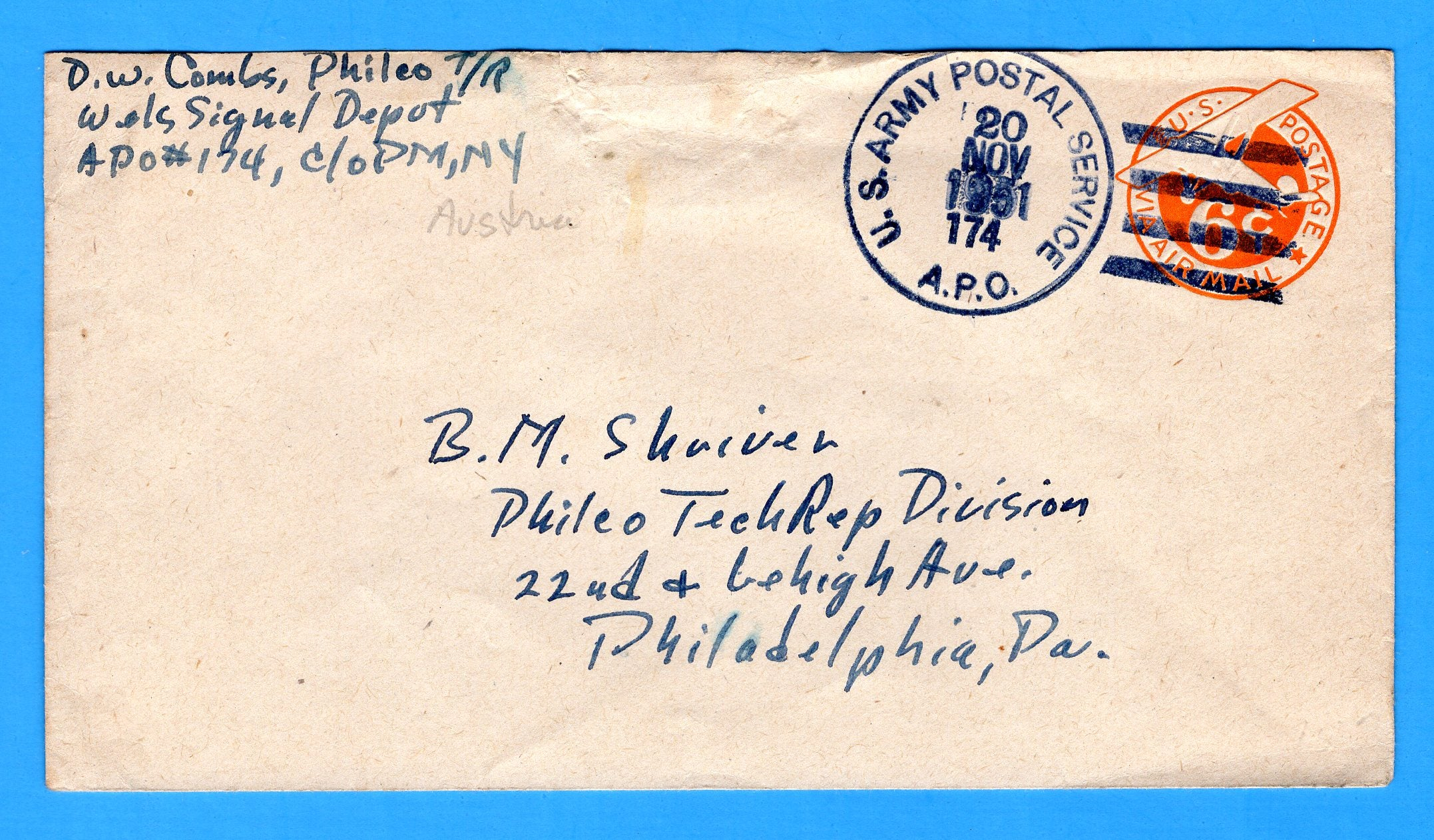 Soldier's Mail APO 174 Austria November 20, 1951