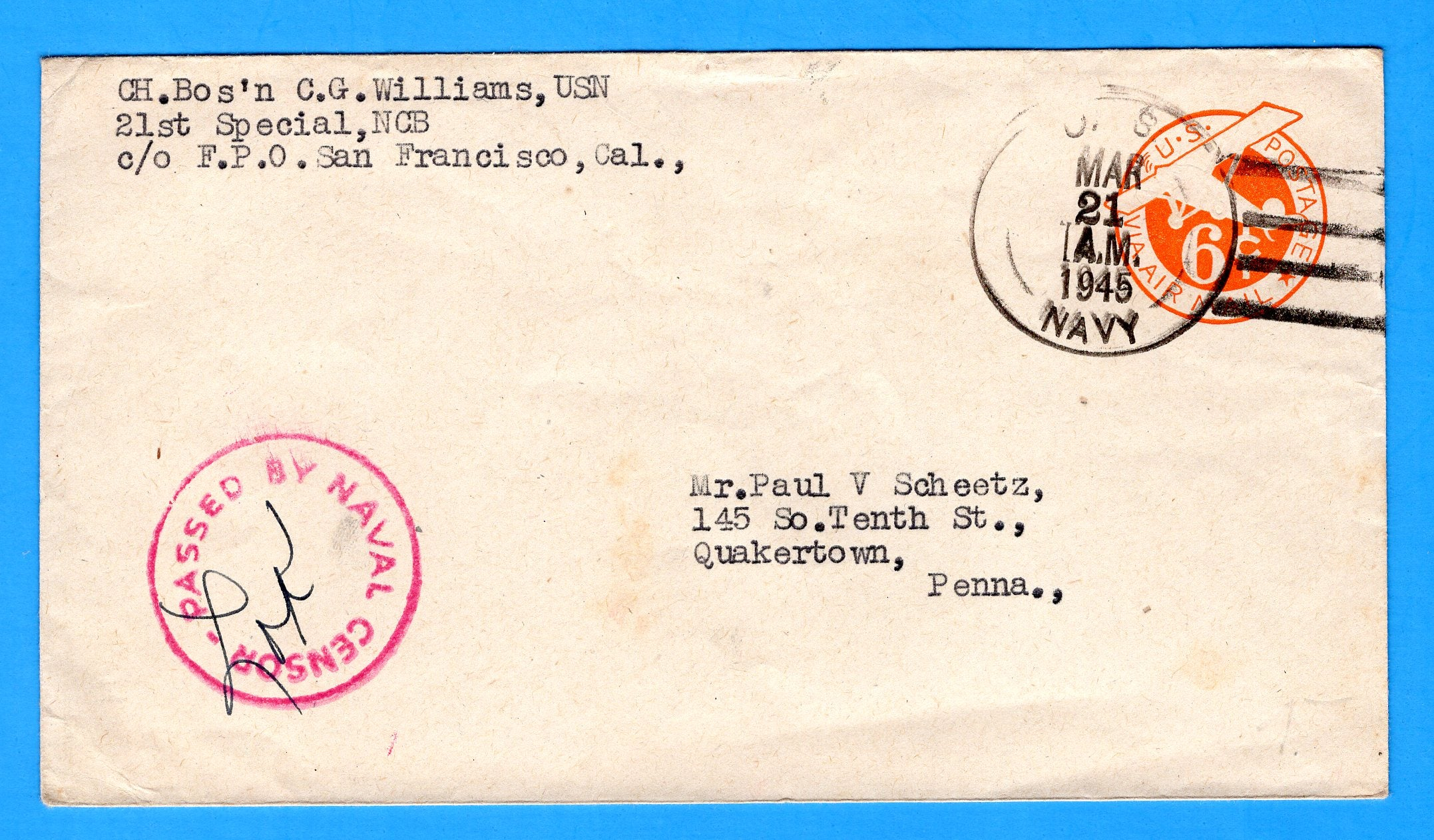 Seabee's Censored Mail 21st Special Naval Construction Battalion Manus 1945