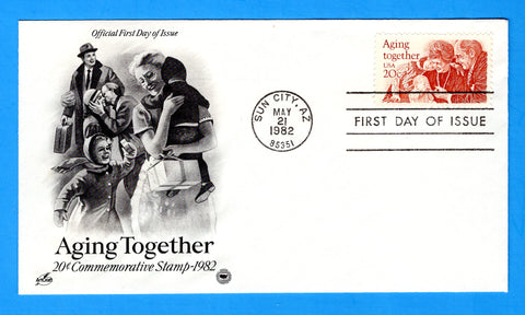 Aging Together First Day Cover by Artcraft, Postal Commemorative Society