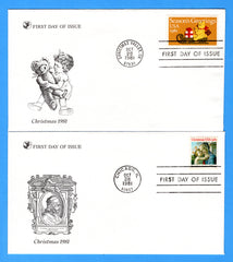 Christmas 1981 Set of Two First Day Covers by Readers Digest