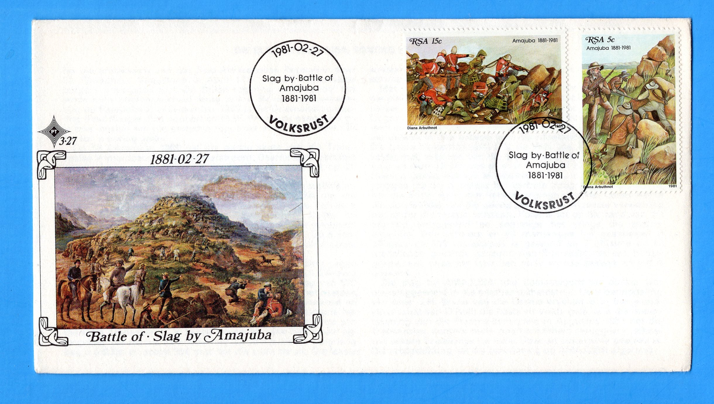 Scott 545 South Africa First Day Cover Battle of Slag by Amajuba February 27, 1981
