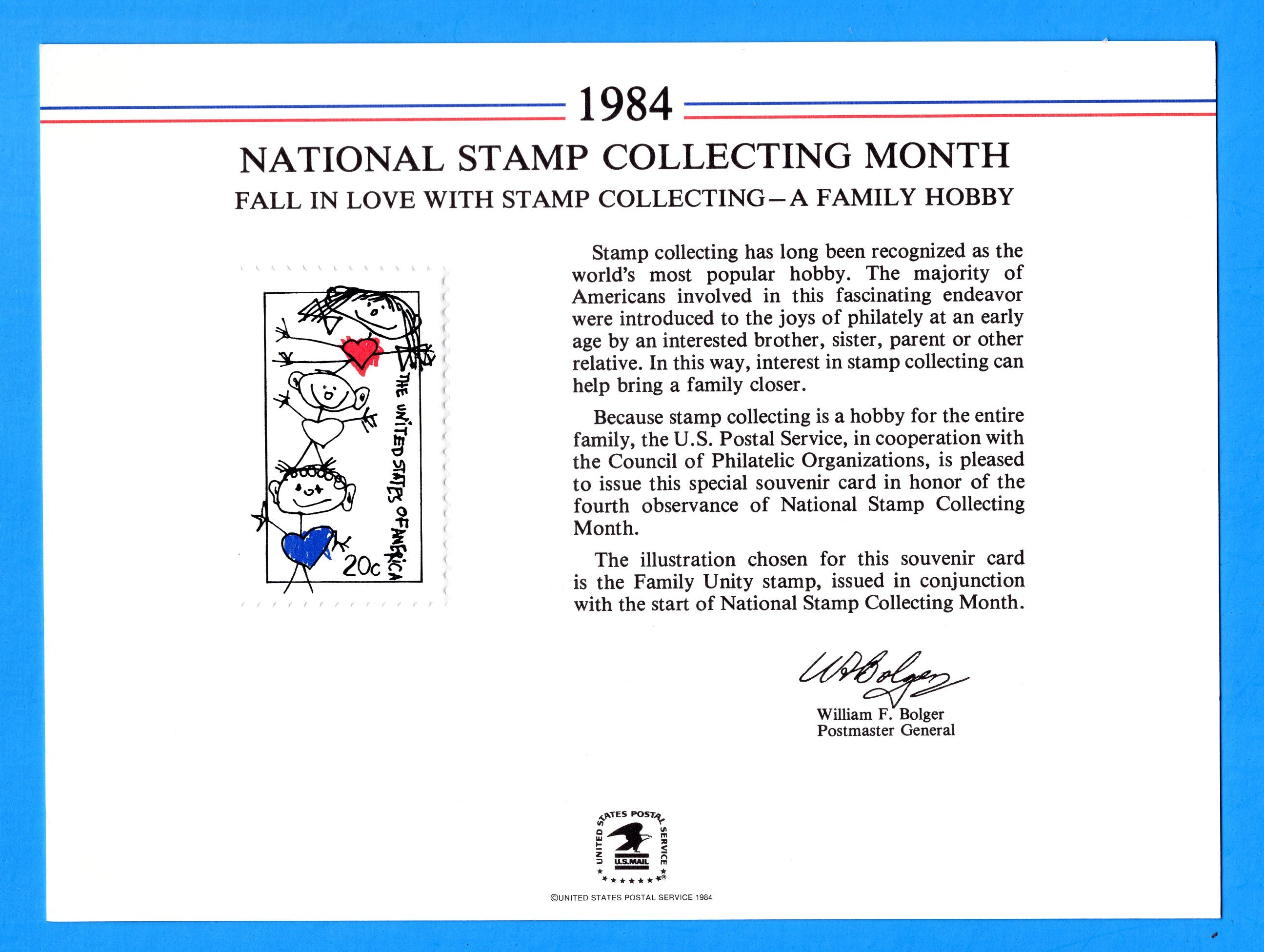 National Stamp Collecting Month, A Family Hobby, 1984 Souvenir Card