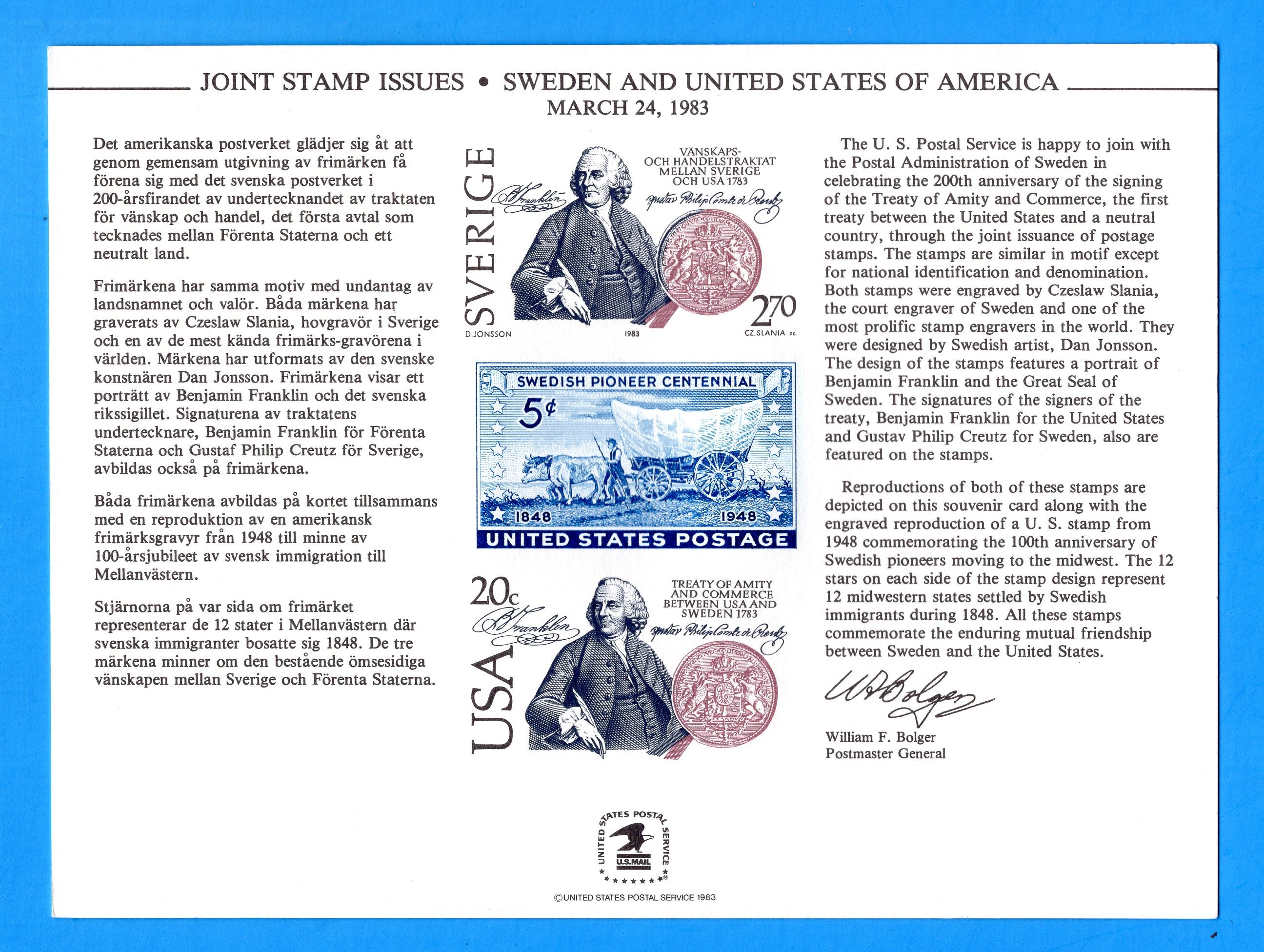 Joint Stamp Issues Sweden and United States March 24, 1983 Souvenir Card