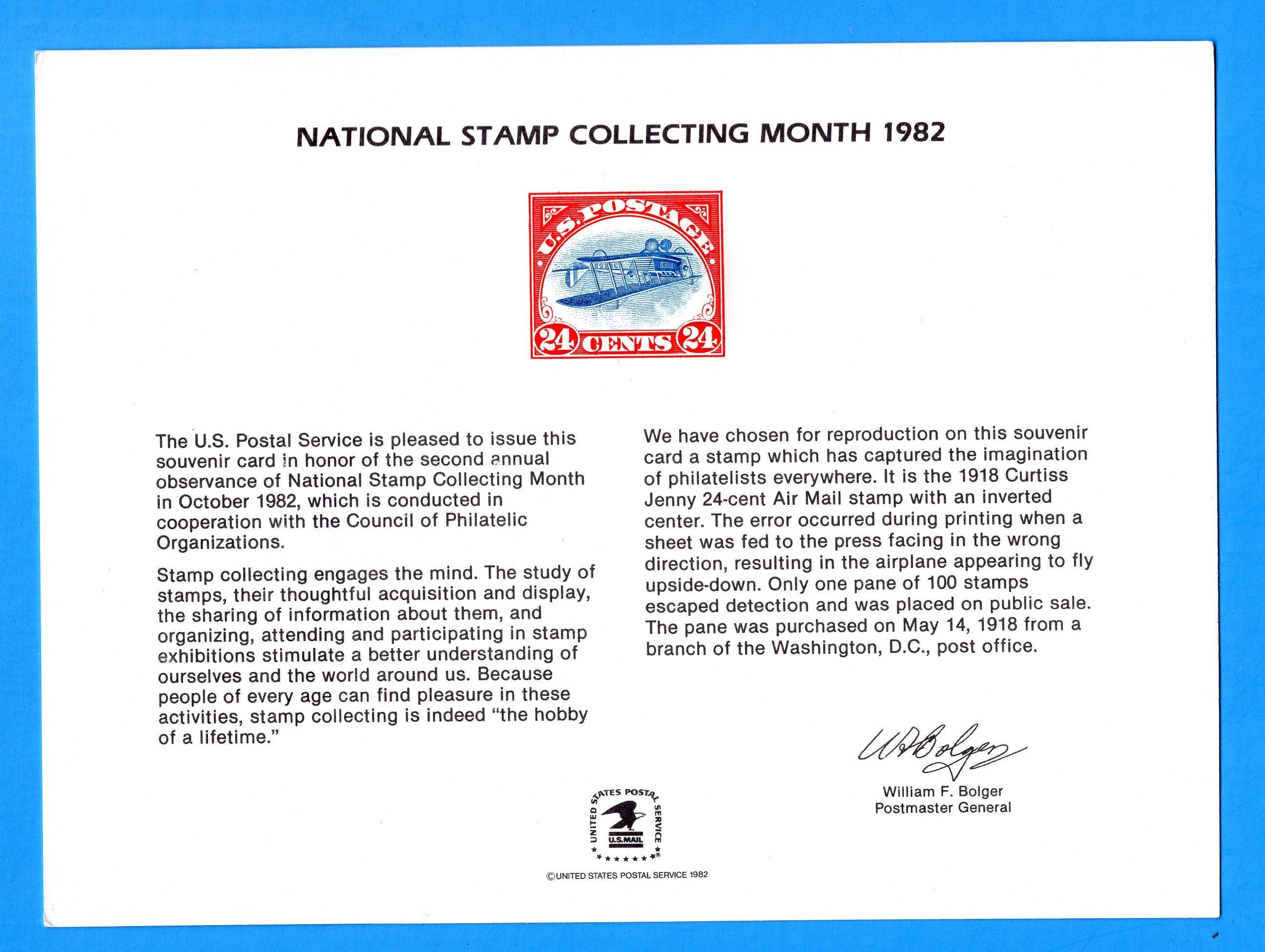National Stamp Collecting Month Washington , DC Souvenir Card