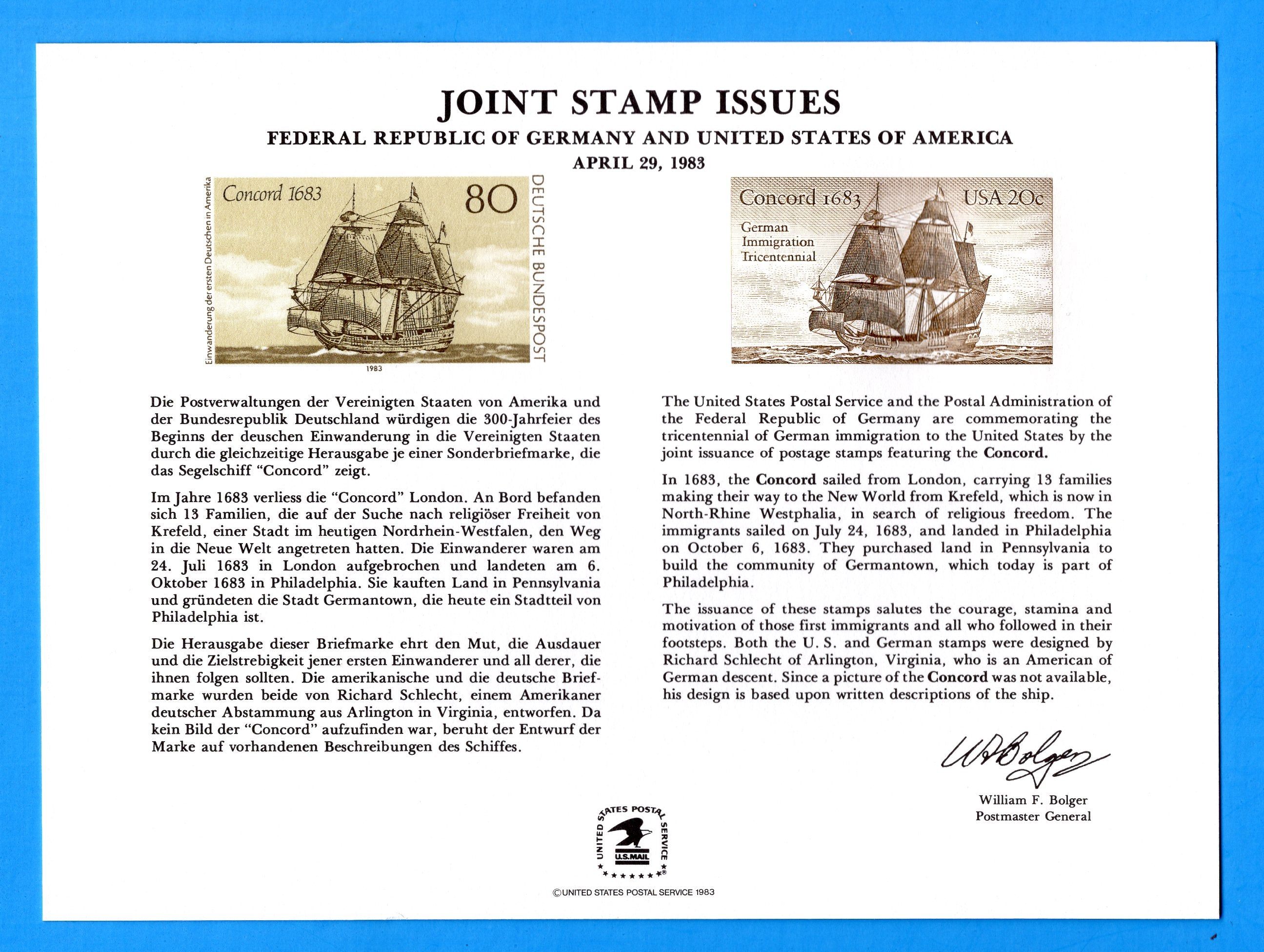 Joint Stamp Issues Germany and United States German Immigration Tricentennial Souvenir Card