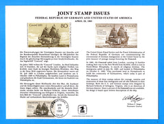 Joint Stamp Issues Germany and United States German Immigration Tricentennial - First Day of Issue Souvenir Card