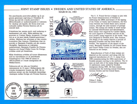 Joint Stamp Issues Sweden and United States March 24, 1983 First Day of Issue Souvenir Card