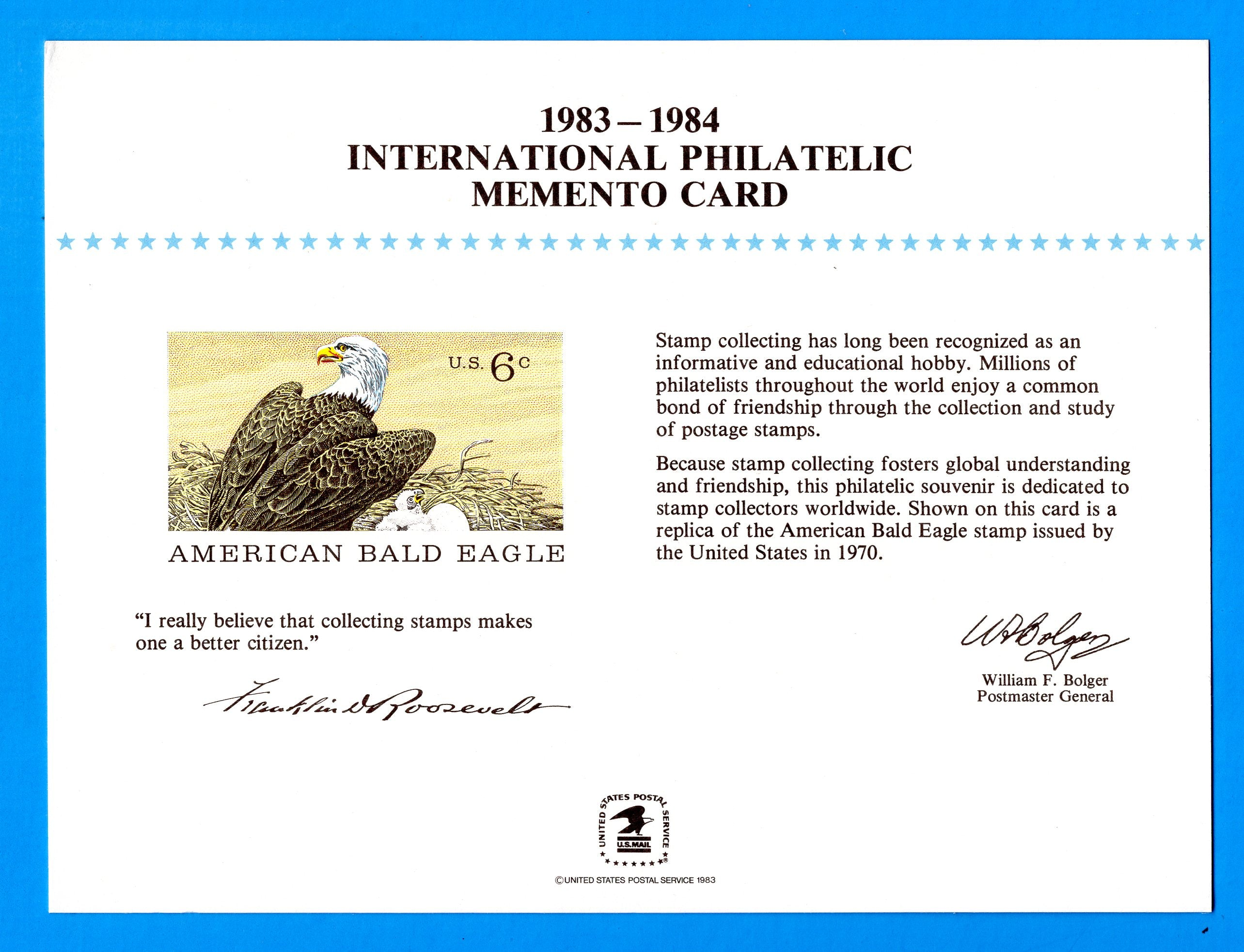 International Philatelic Memento Card 1983-1984 - American Bald Eagle Souvenir Card