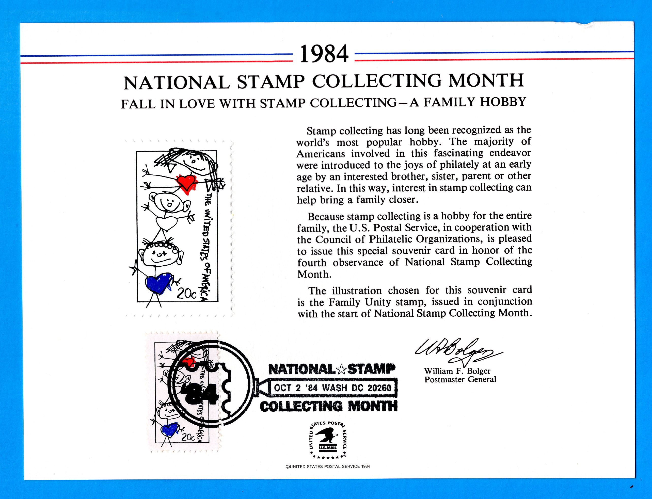 National Stamp Collecting Month, A Family Hobby, 1984 Souvenir Card Cancelled October 2, 1984