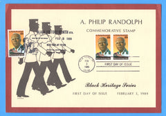 A. Philip Randolph, Black Heritage First Day of Issue with Dual Cancels