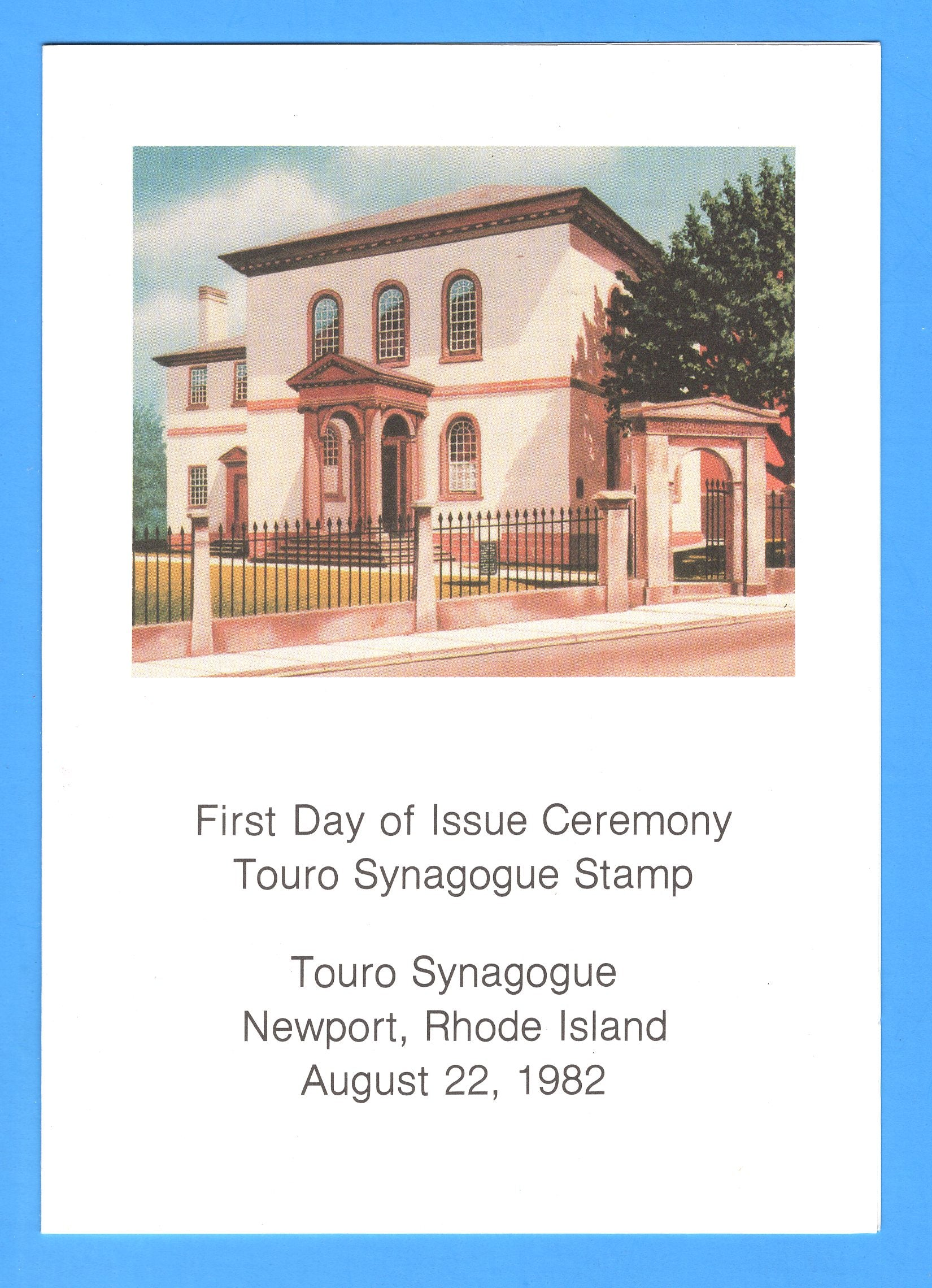 Touro Synagogue First Day Program