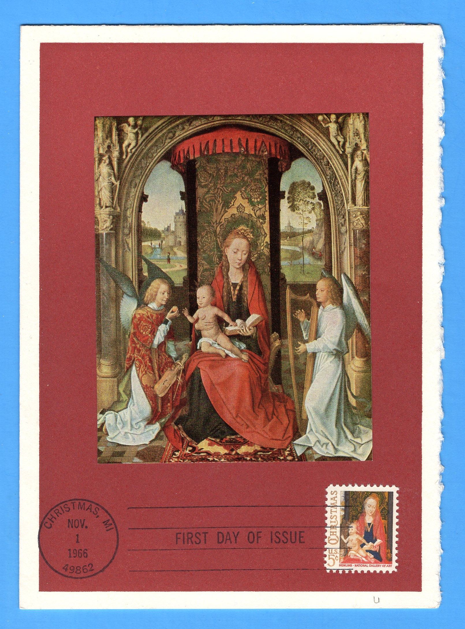 Scott 1321 Christmas Madonna & Child 1966 First Day of Issue on National Gallery of Art Greetings Card