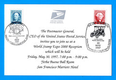 World Stamp Expo 2000 Reception Invite Souvenir Card