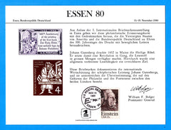 ESSEN '80 Essen, Germany Souvenir Card - Cancelled November 15, 1980