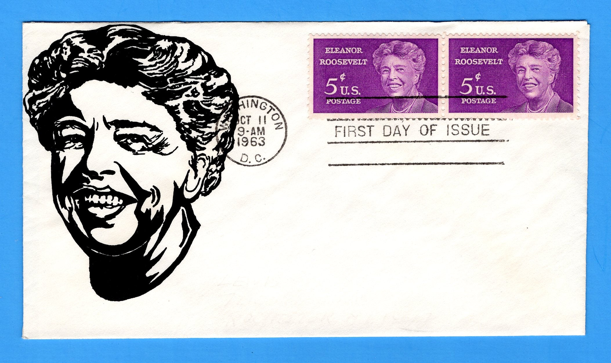 Scott 1236 5c Eleanor Roosevelt Silk Screen First Day Cover by Eric Lewis - Very Rare - Only Twelve Known Copies