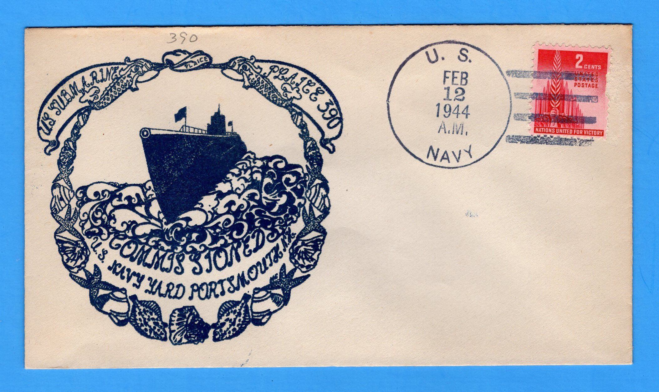 USS Plaice SSN-390 Commissioned February 12, 1944 - Raised Print Cachet