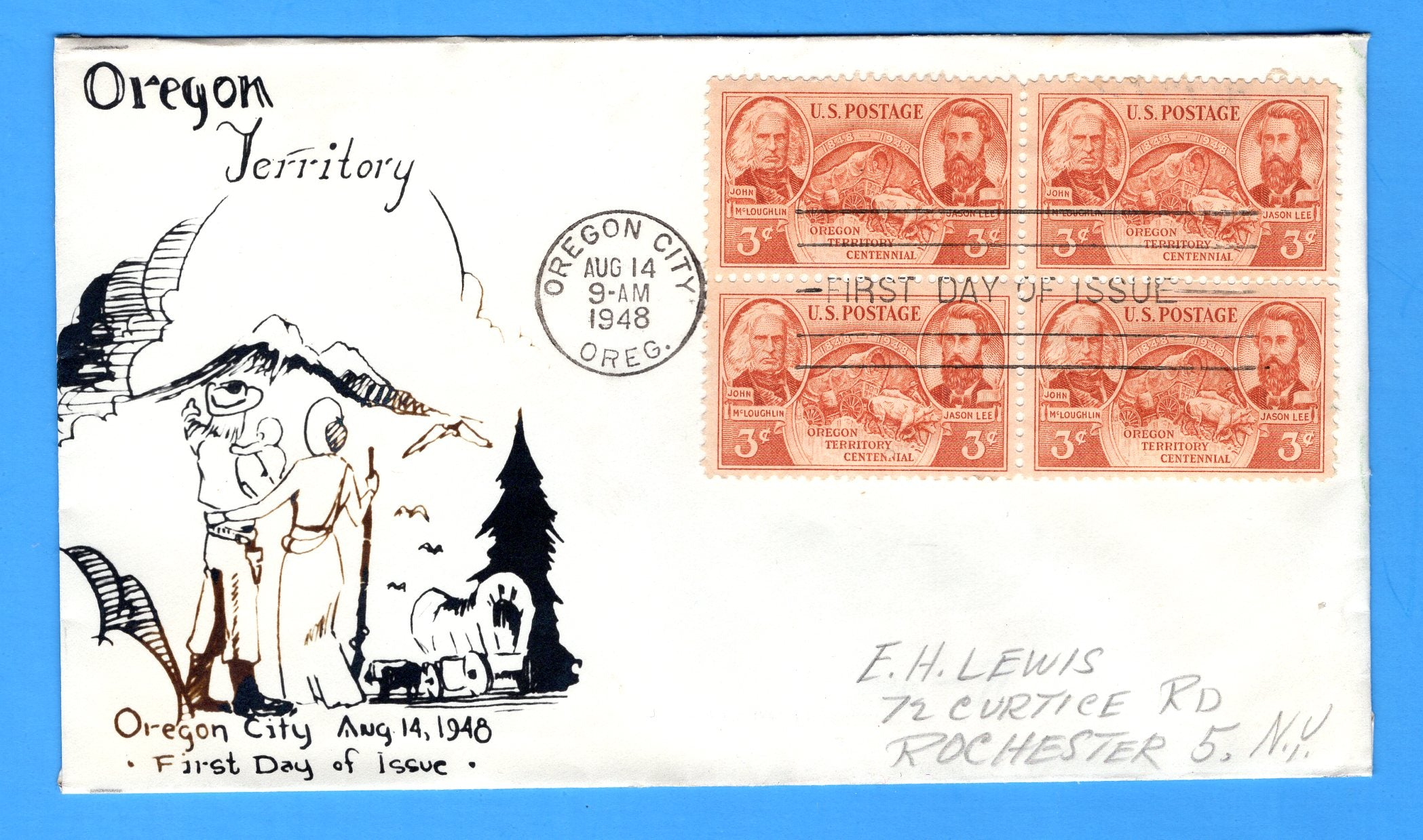 Scott 964 3c Oregon Territory Centennial Photo Cachet First Day Cover by Eric Lewis - Very Rare - Only Four Known Copies