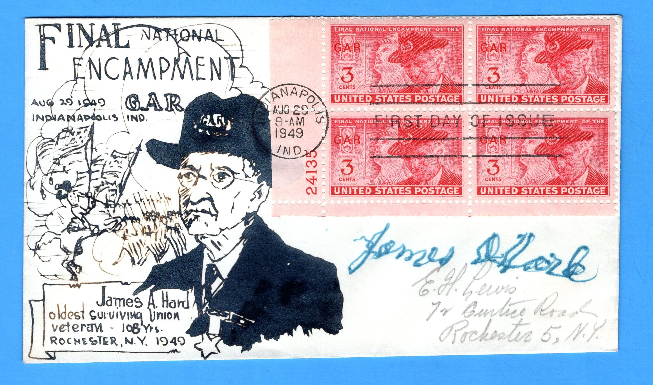 Scott 985 3c Final Encampment GAR Photo Cachet First Day Cover - Plate Block - by Eric Lewis - Very Rare - Only Two Known Copies - Signed by James A. Hard Oldest Surviving Union Veteran