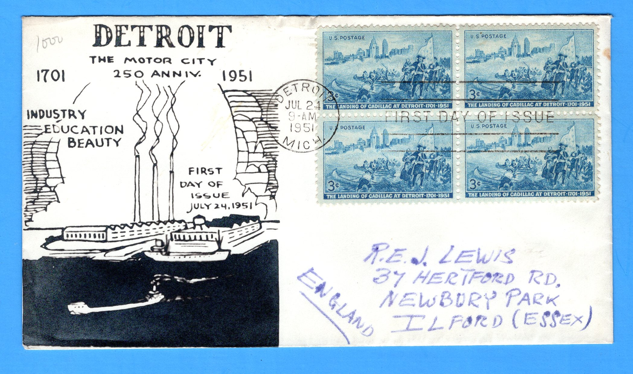Scott 1000 3c Landing of Cadillac at Detroit Photo Cachet First Day Cover - by Eric Lewis - Very Rare - Only Three Known Copies
