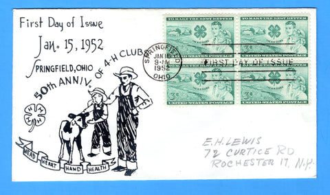 Scott 1005 3c The 4-H Clubs (Design 1) Photo Cachet First Day Cover - by Eric Lewis - Very Rare - Only One Known Copy