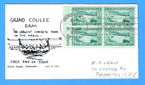 Scott 1009 3c Grand Coulee Dam Photo Cachet First Day Cover by Eric Lewis - Plate Block - Very Rare - Only Three Known Copies