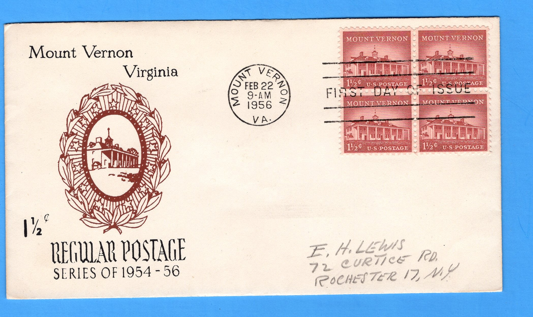 Scott 1032 1 1/2c Mount Vernon Silk Screen First Day Cover by Eric Lewis - Very Rare - Only Three Known Copies