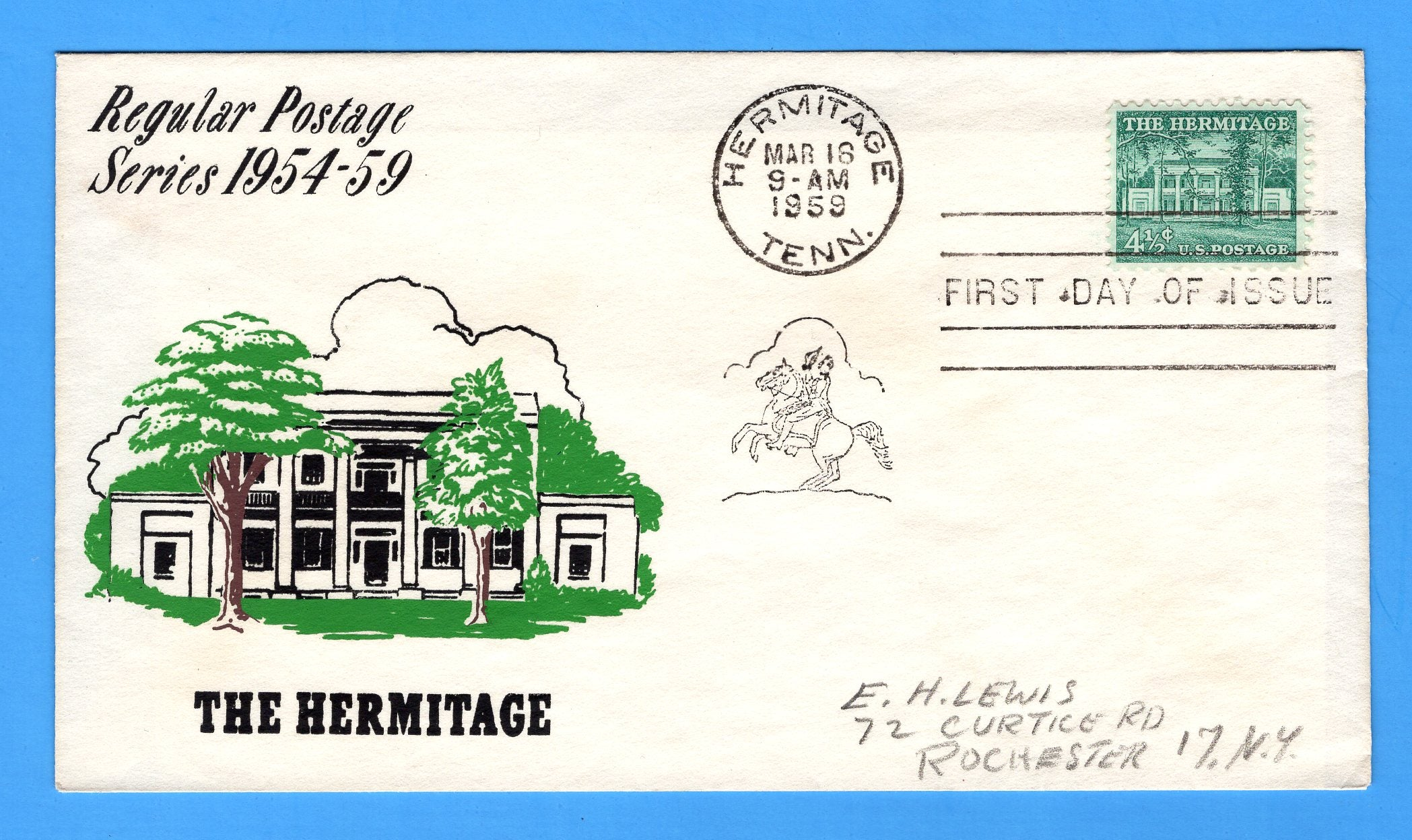 Scott 1037 4 1/2c The Hermitage Silk Screen First Day Cover by Eric Lewis - Very Rare - Only Six Known Copies