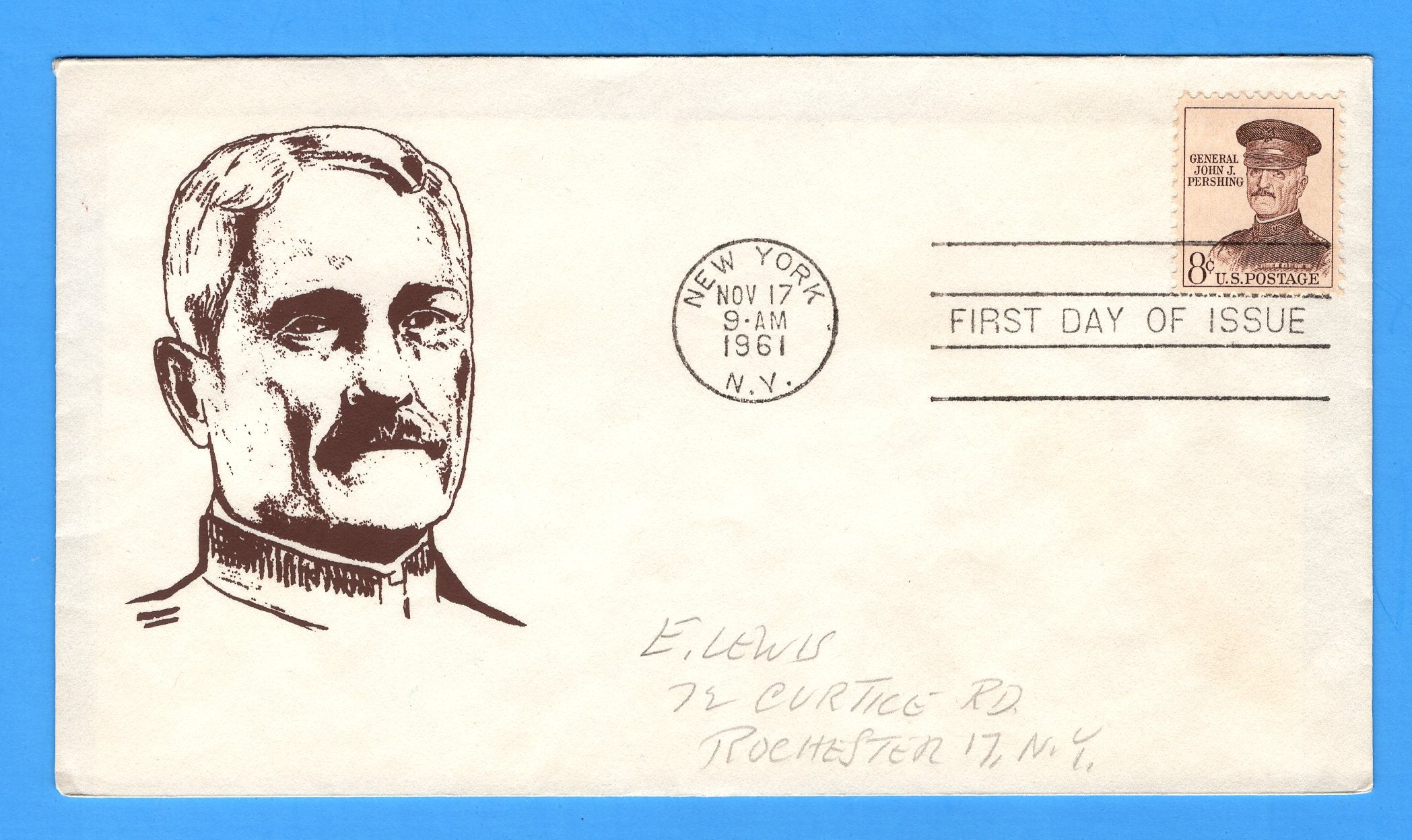 Scott 1042a 8c General John J. Pershing Silk Screen First Day Cover by Eric Lewis - Very Rare - Only Six Known Copies