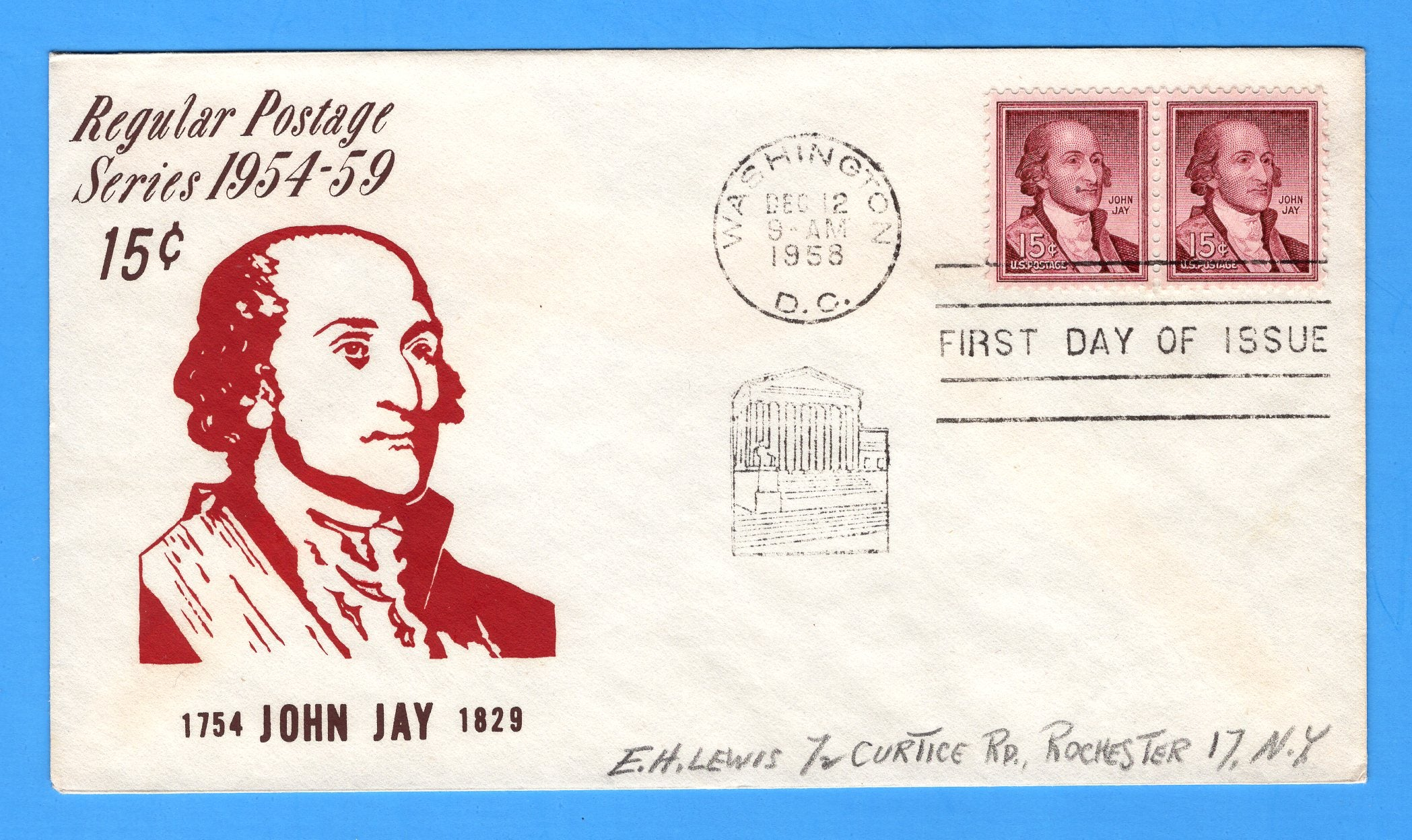 Scott 1046 15c John Jay Silk Screen First Day Cover by Eric Lewis - Very Rare - Only Three Known Copies