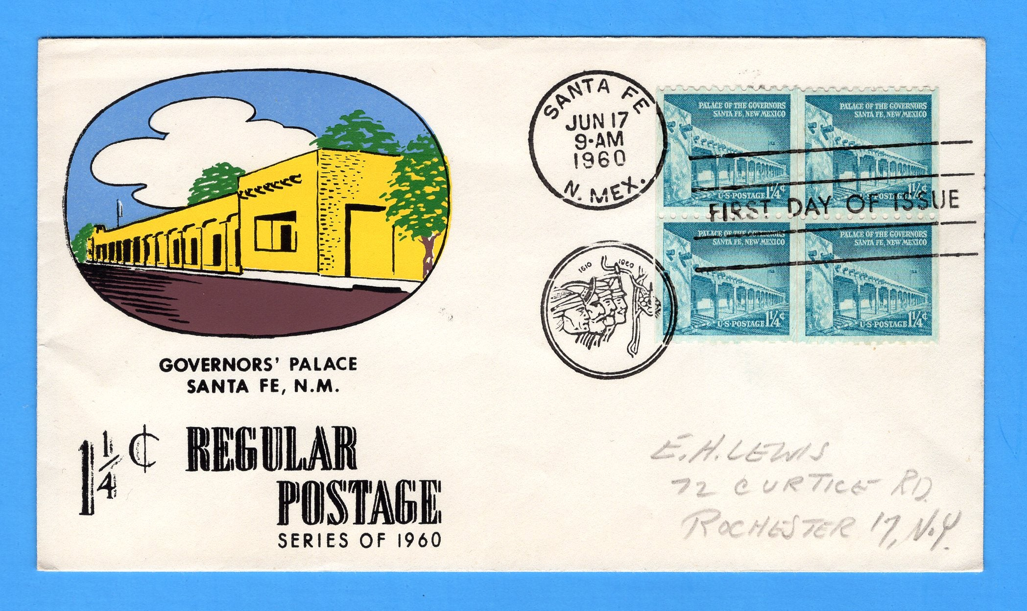 Scott 1054A Palace of Governors Silk Screen First Day Cover by Eric Lewis - Very Rare - Only Three Known Copies