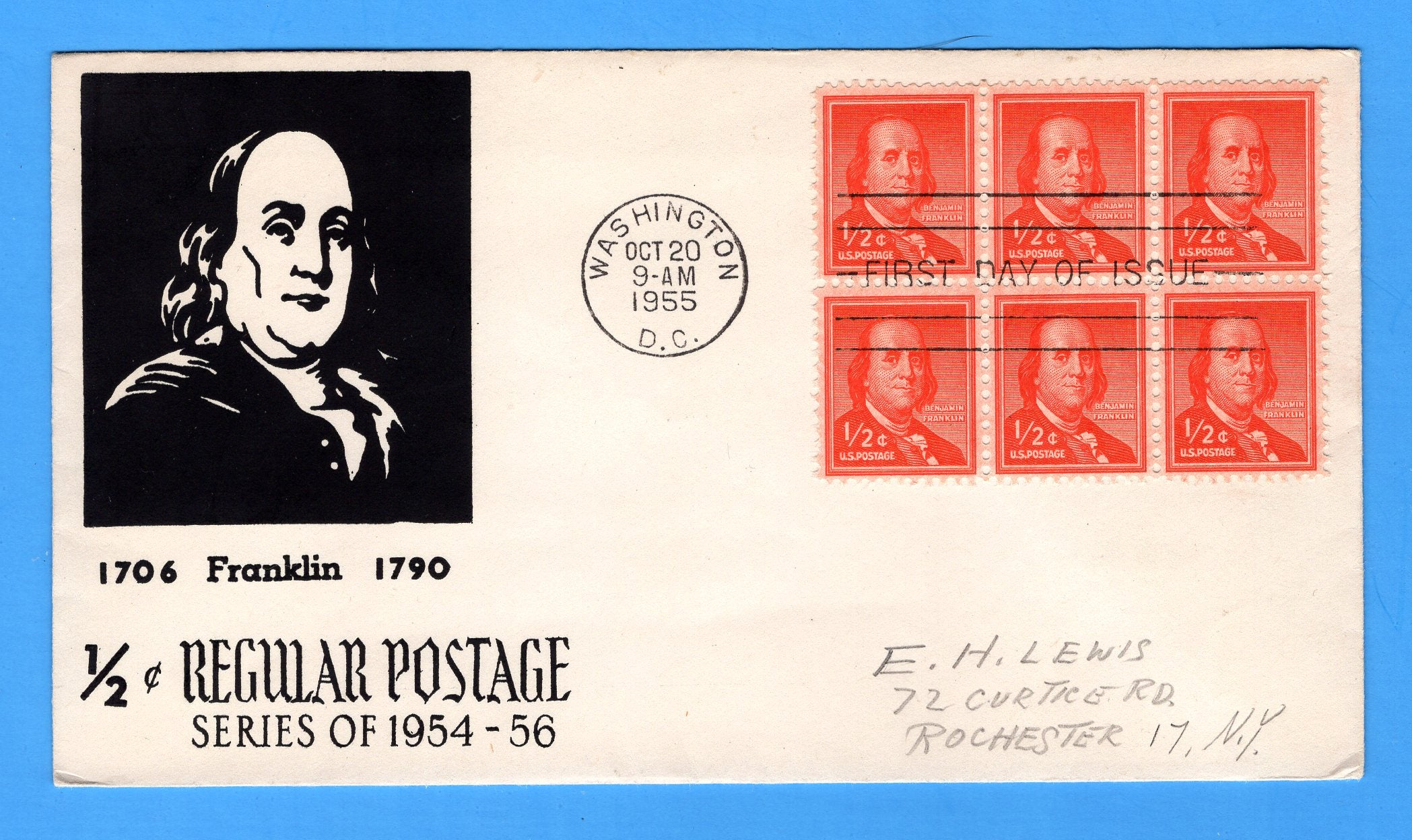 Scott 1030 1/2 Benjamin Franklin Silk Screen First Day Cover by Eric Lewis - Very Rare - Only Four Known Copies