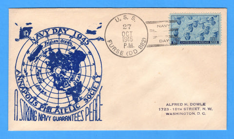 Scott 935 Navy Issue FDC Unlisted Unofficial USS Furse DD-882 First Day Cancel