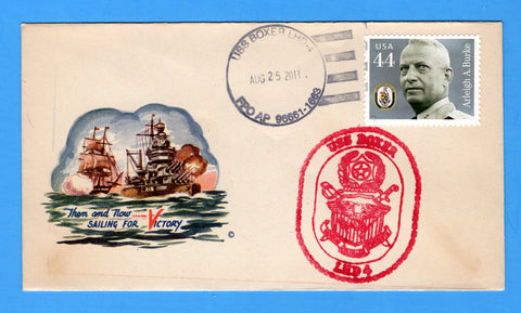 USS Boxer LHD-4 August 25, 2011 on Original WWII Era Minkus Patriotic Cover - Cover Serviced by Great Southern Cover Co