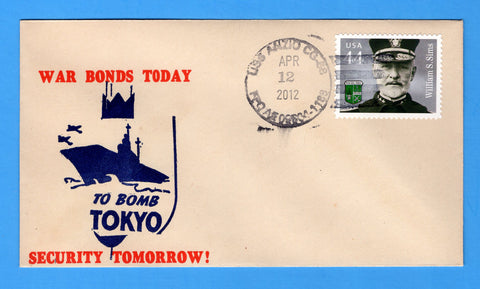 USS Anzio CG-68 April 12, 2012 on Original WWII Era Patriotic Cover - Cover Serviced by Great Southern Cover Co