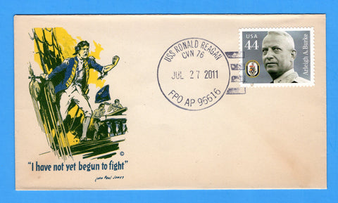 USS Ronald Reagan CVN-76 July 27, 2011 Original WWII Era Patriotic Cover - Cover Serviced by Great Southern Cover Co