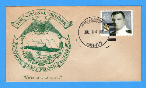USS Bunker Hill CG-52 July 4, 2011 - On World War II Era Naval Cover - Cover Serviced by Great Southern Cover Co