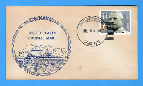 USS Bunker Hill CF-52 Fourth of July 2011 - On World War II Era Naval Cover - Cover Serviced by Great Southern Cover Co