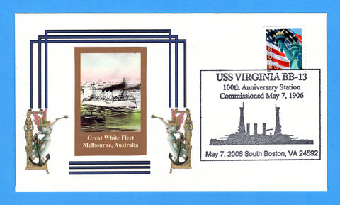 USS Virginia BB-13 100th Anniversary of Commissioning May 7, 2006 - Cachet by Great Southern Cover Co