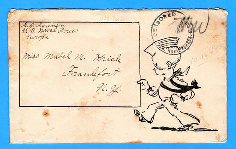 USS Texas BB-35 Sailor's Mail U.S. Naval Forces Europe Oct 16, 1918 with Letter