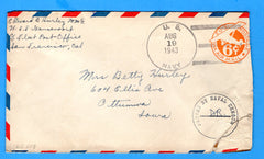 USS Gansevoort DD-608 Sailor's Censored Mail August 19, 1943