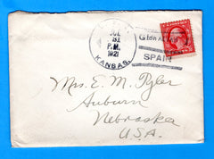 US Kansas BB-21 Sailor's Mail Gibraltar, Spain July 31, 1921