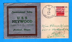 USS Heywood AP-12 Commissioned February 19, 1941 - Linto Cachet 134, Cover 31, Covers Issued 65