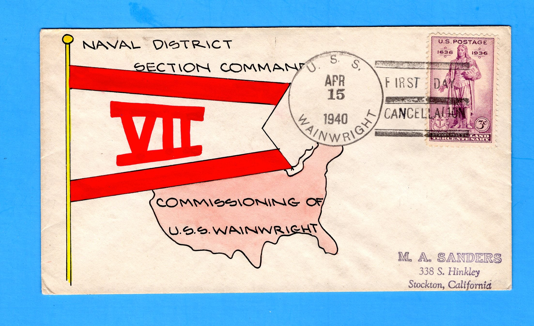 USS Wainwright DD-419 Commissioned April 15, 1940 - Mae Weigand Hand Painted Cachet