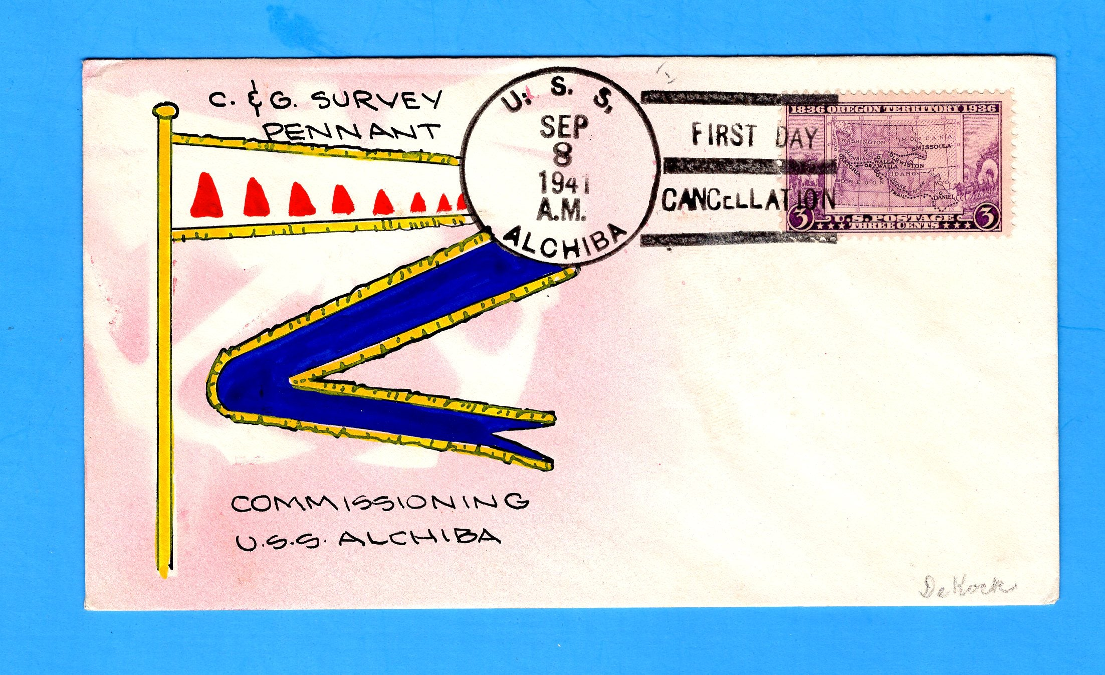 USS Alchiba AK-23 First Day Postal Service September 8, 1941- Mae Weigand Hand Painted Cachet