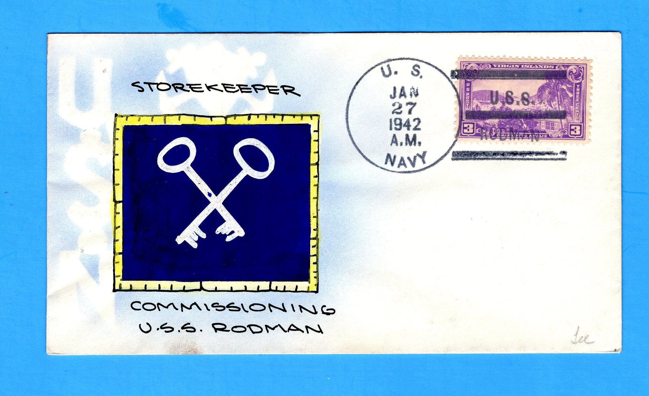USS Rodman DD-456 Commissioned and First Day of Postal Service January 27, 1942 - Mae Weigand Hand Painted Cachet