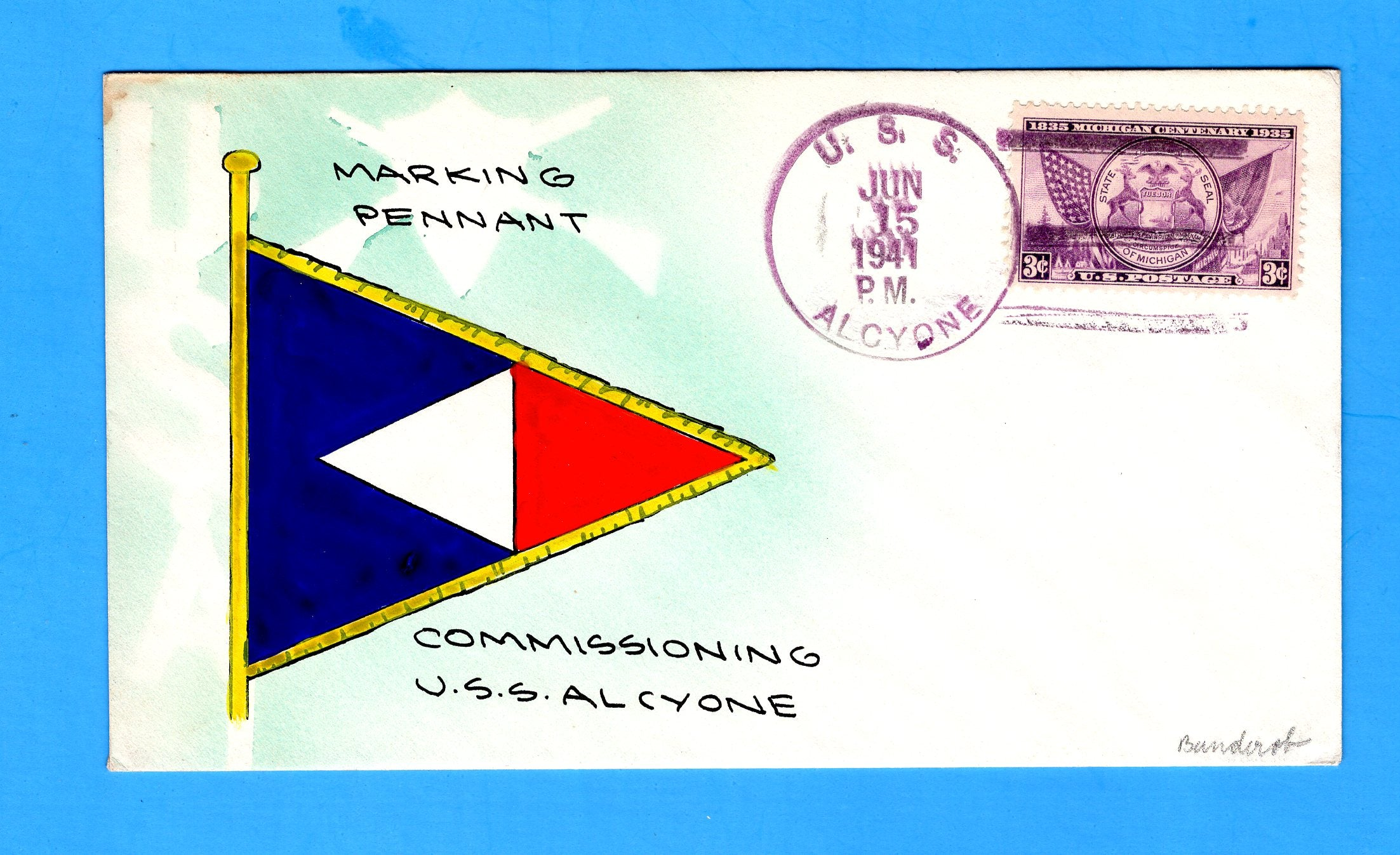 USS Alcyone AKA-7 Commissioned June 15, 1941 - Mae Weigand Hand Painted Cachet