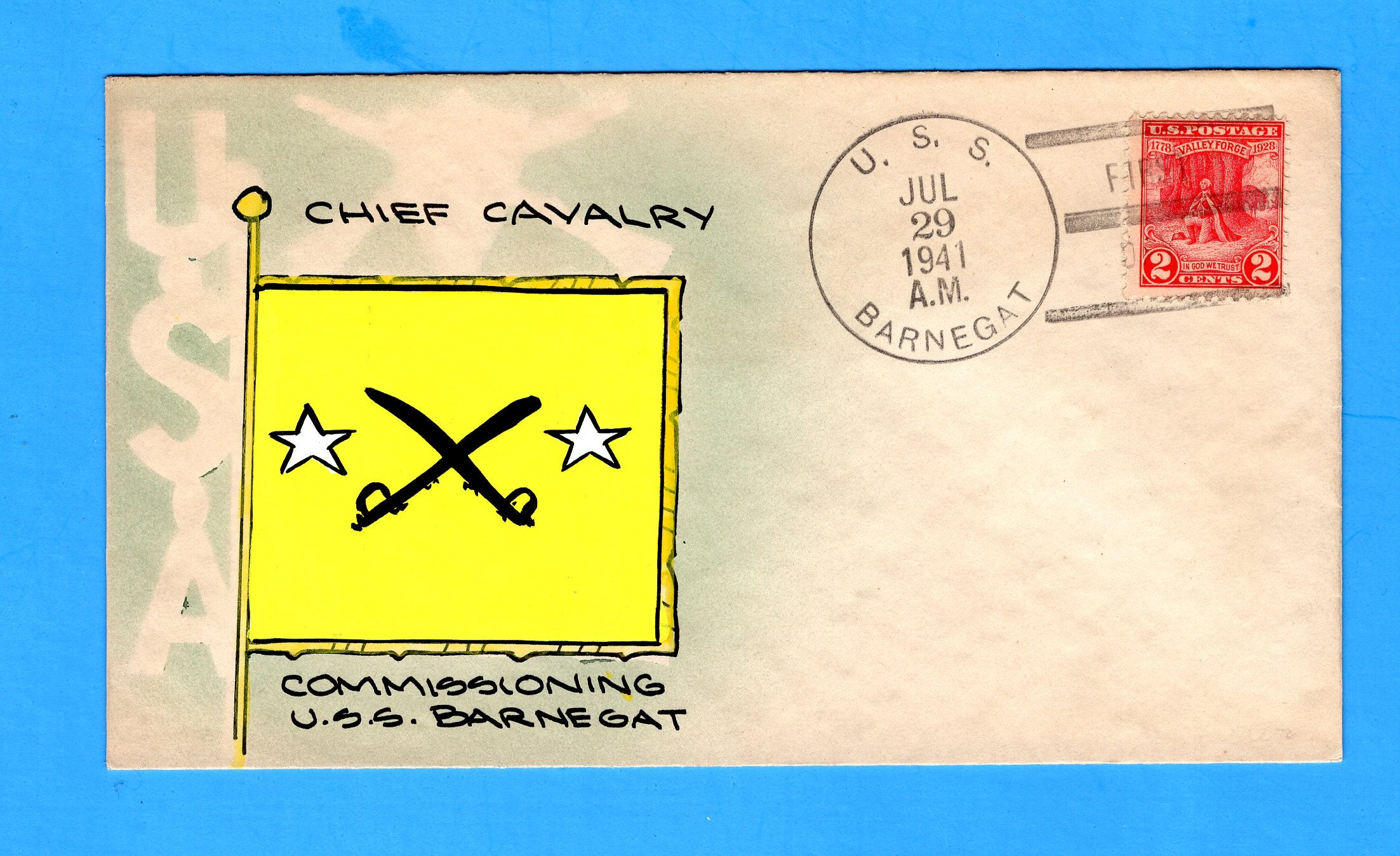 USS Barnegat AVP-9 First Day Postal Service July 29, 1941 - Mae Weigand Hand Painted Cachet