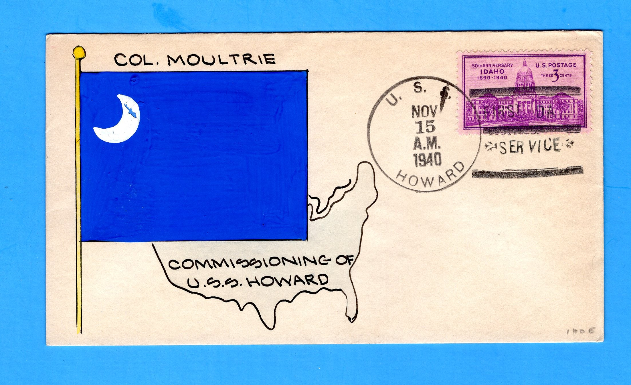 USS Howard DD-179 First Day Postal Service November 15, 1940 - Mae Weigand Hand Painted Cachet